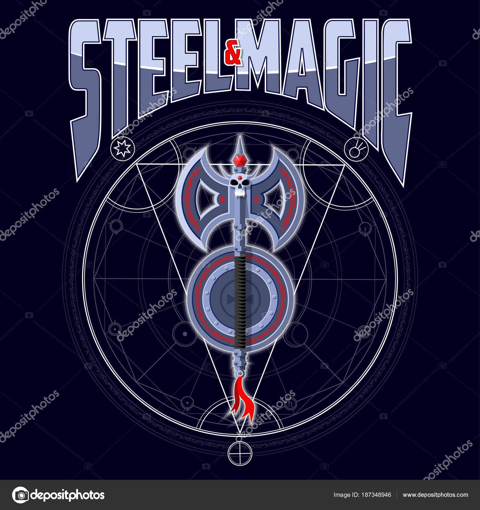 Axe shield runes dark magical background emblem symbols planets axe and shield with runes on a dark magical background emblem with the symbols of the planets background text and magic circle are located on separate buycottarizona Choice Image