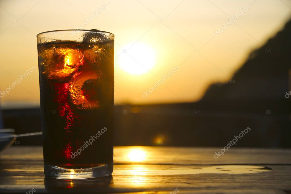 Stock Photo Fresh Cold Soft drinks  with sunlight from behind (Soft Focus)