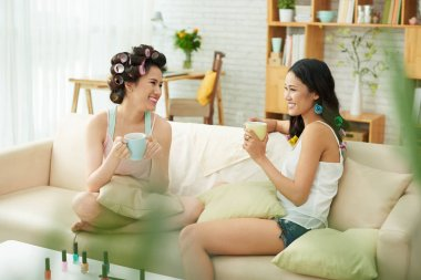 women drinking tea at home