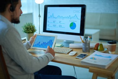 Businessman working on annual report