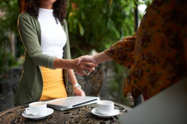 woman greeting female business partner