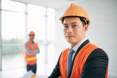 Vietnamese engineer in hardhat
