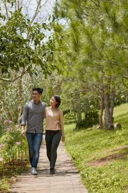 Asian couple walking in park