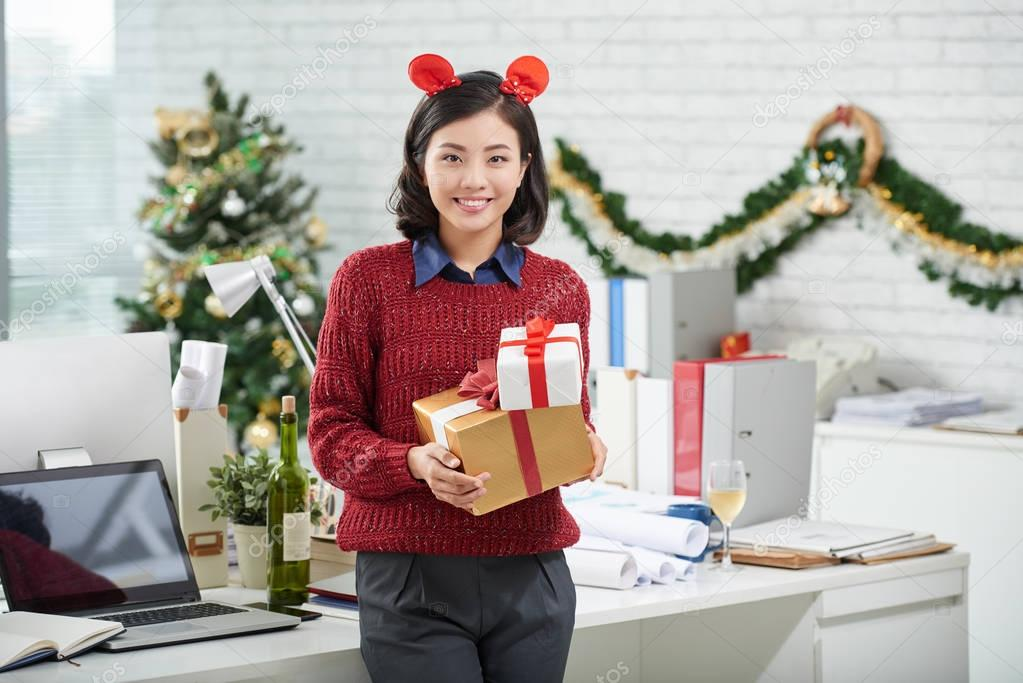 Business lady with presents