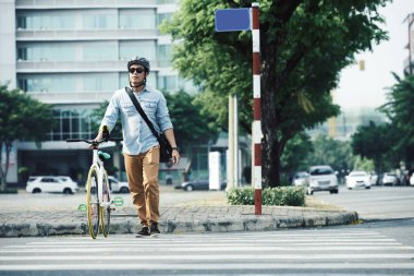 Man with bicycle on pedestrian crossing