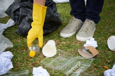 Plastic waste on grass