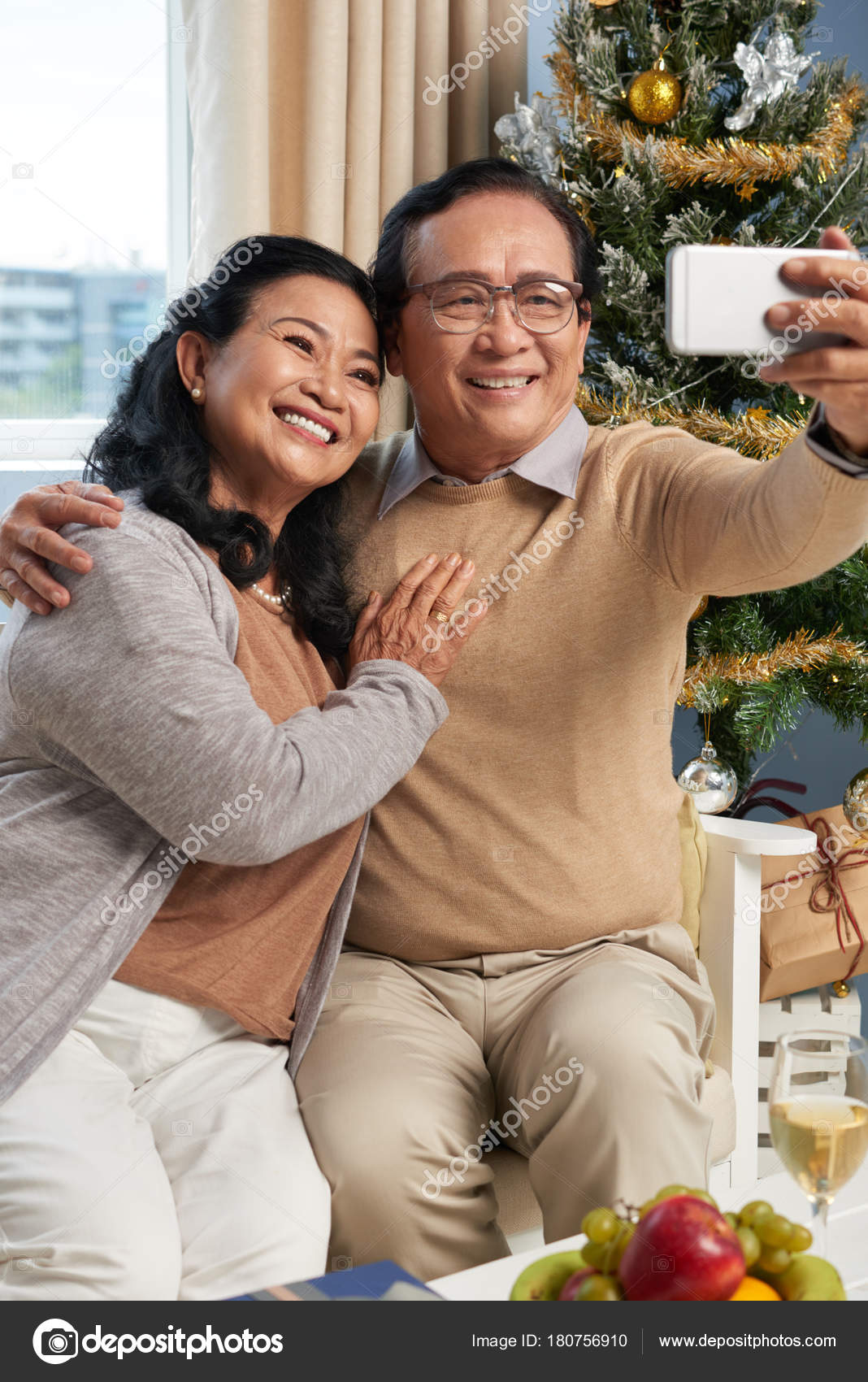 Smiling Elderly Asian Couple Posing Selfie Stock Photo