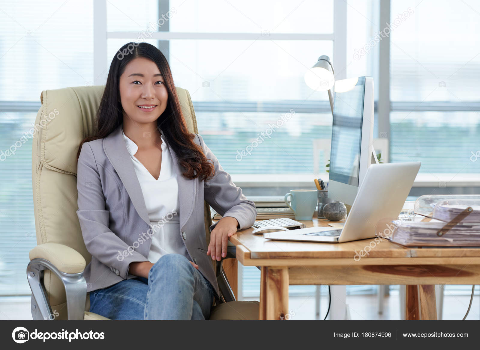 Asian Business Woman Sitting Chair Office  Stock Photo -8546