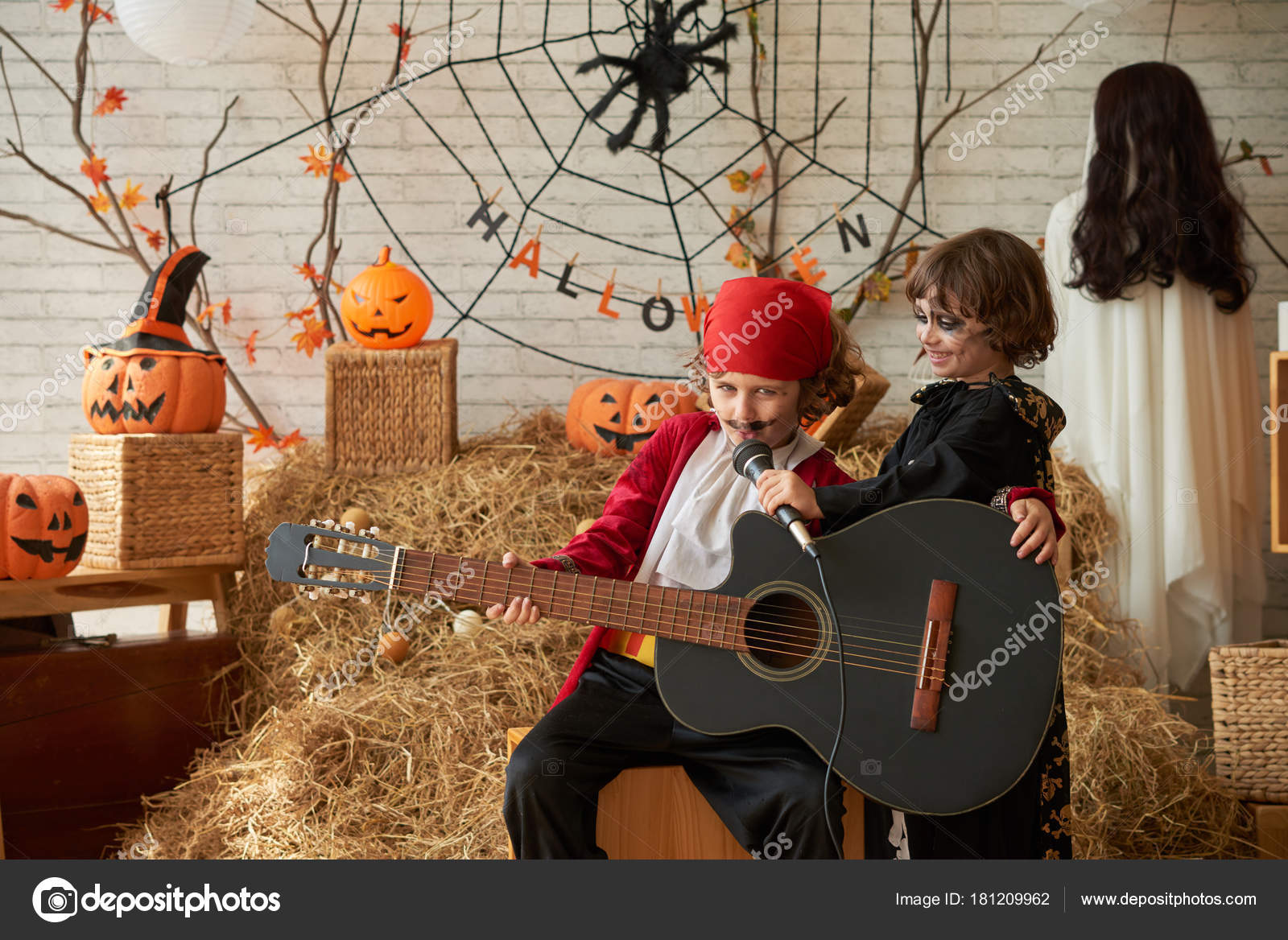 Boy Pirate Costume Singing Song Halloween Party His Brother