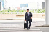 Fotografie Asian businessman crossing road with suitcase coming to airport while on business trip