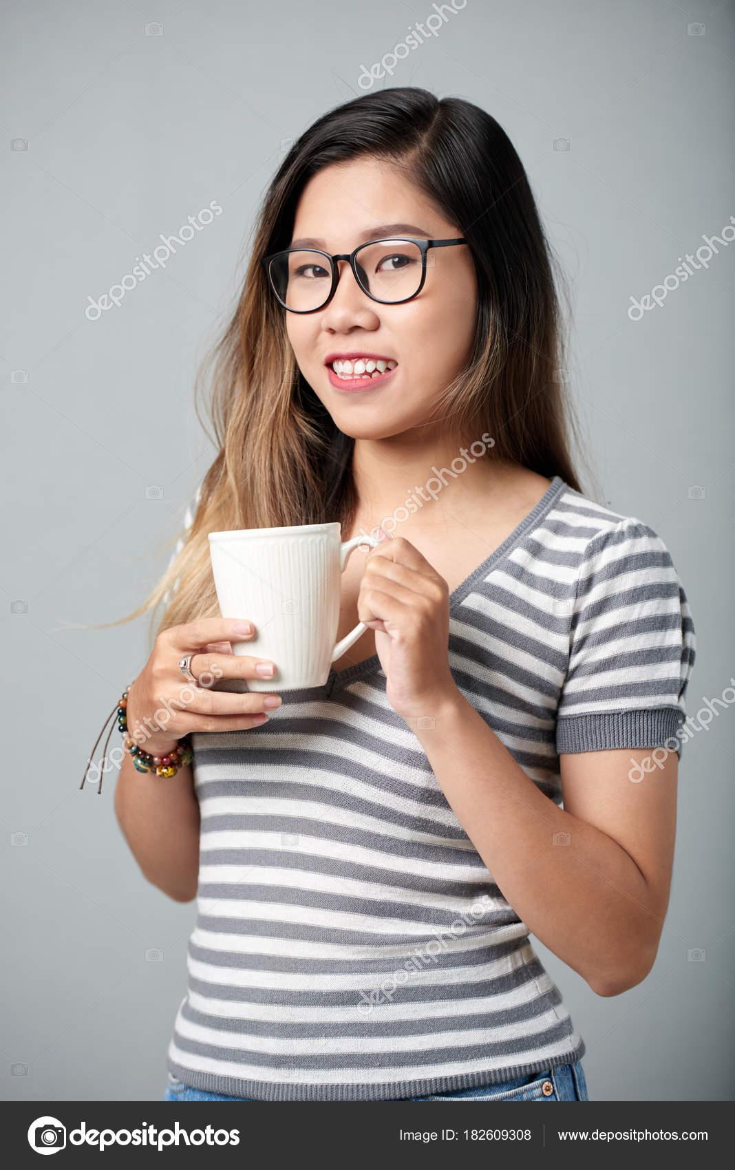 08e75ff785ac Portrait Pretty Asian Teenage Girl Big Mug Coffee — Stock Photo ...