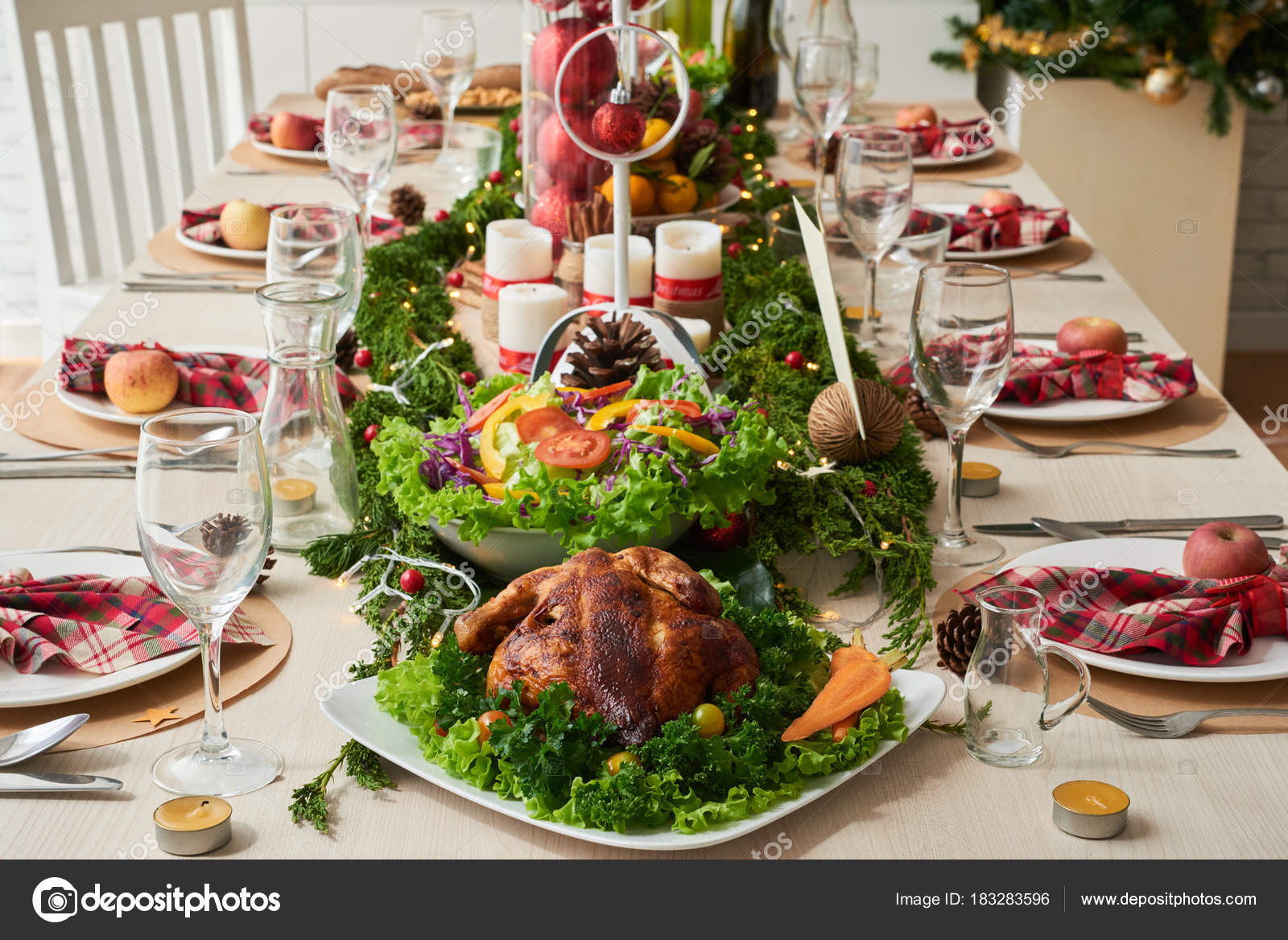 food decorations christmas dinner table stock photo
