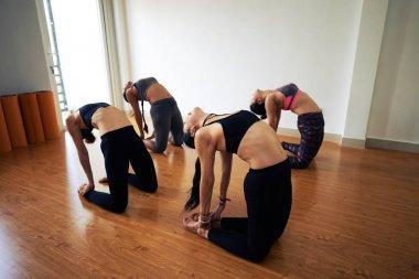gymnastics women in sportswear practicing choreography in dancing studio