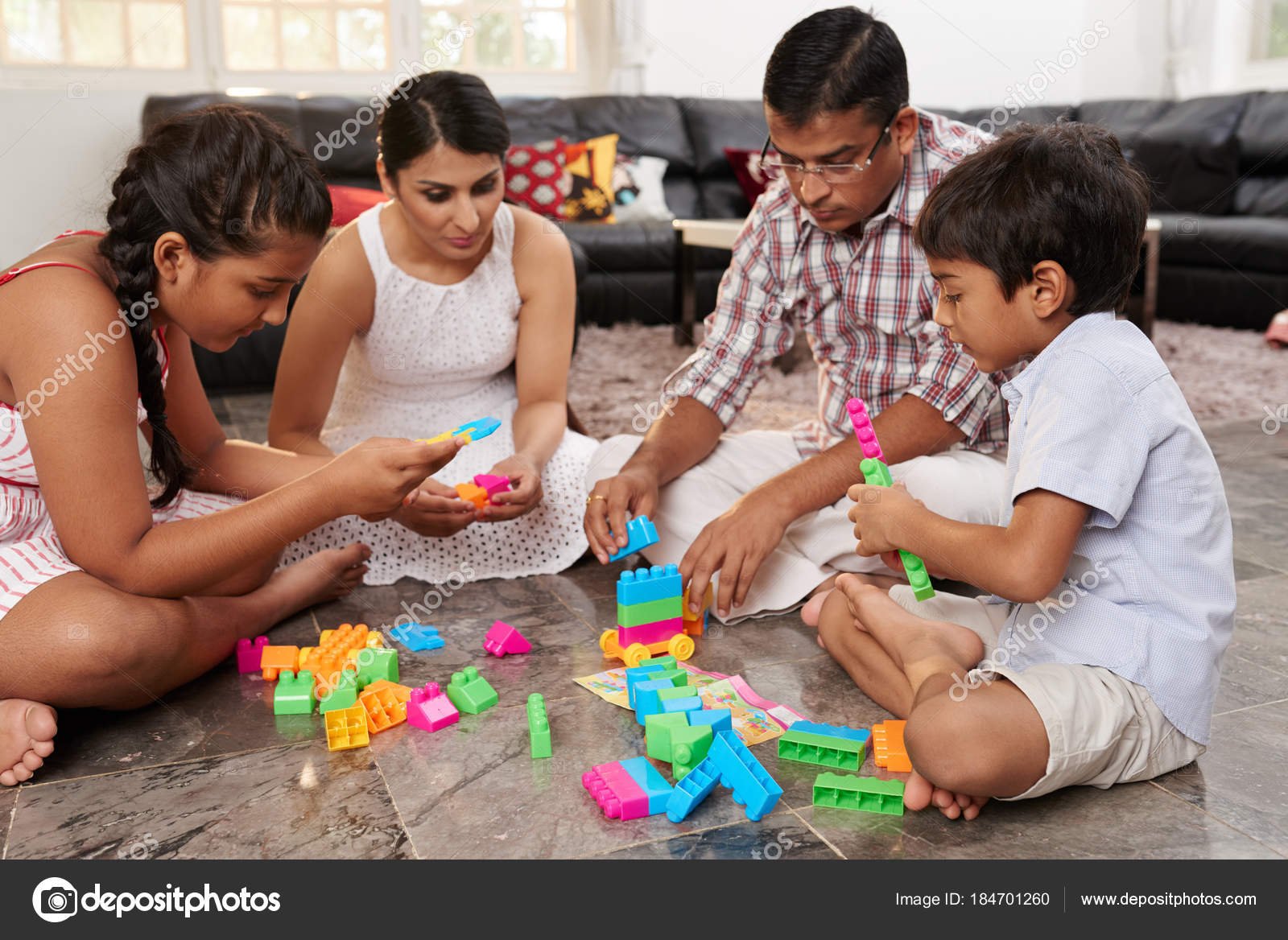 Indian Mother Father Two Kids Playing Floor — Stock Photo