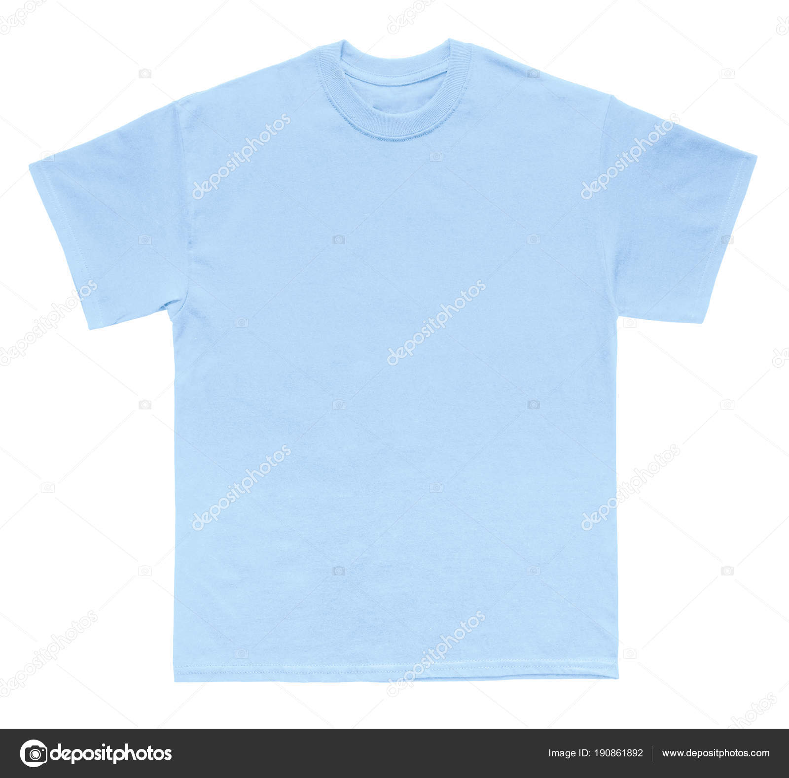 Blank Shirt Color Light Blue Template White Background Stock Photo