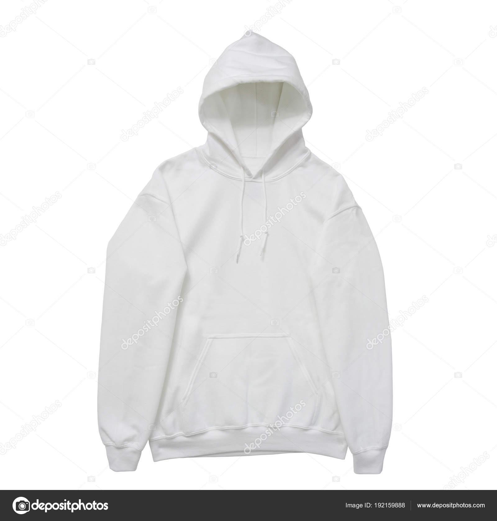 b2f3c049fdea Κενό Hoodie Φούτερ Λευκό Χρώμα Δείτε Μέτωπο Βραχίονα Λευκό Φόντο– εικόνα  αρχείου
