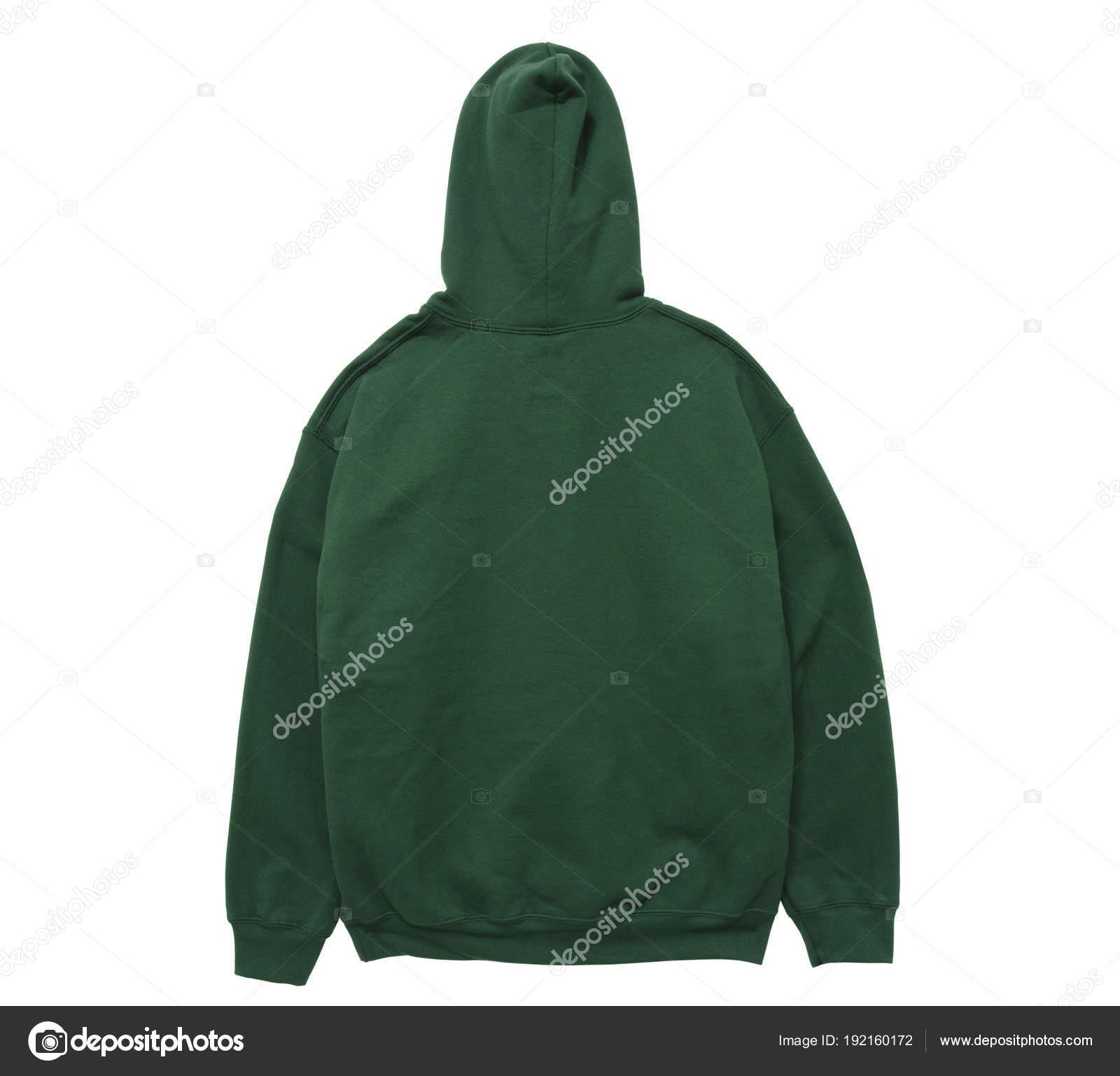 60f96d567ce1 Κενό Hoodie Φούτερ Πίσω Θέα Πράσινο Χρώμα Άσπρο Φόντο — Φωτογραφία Αρχείου