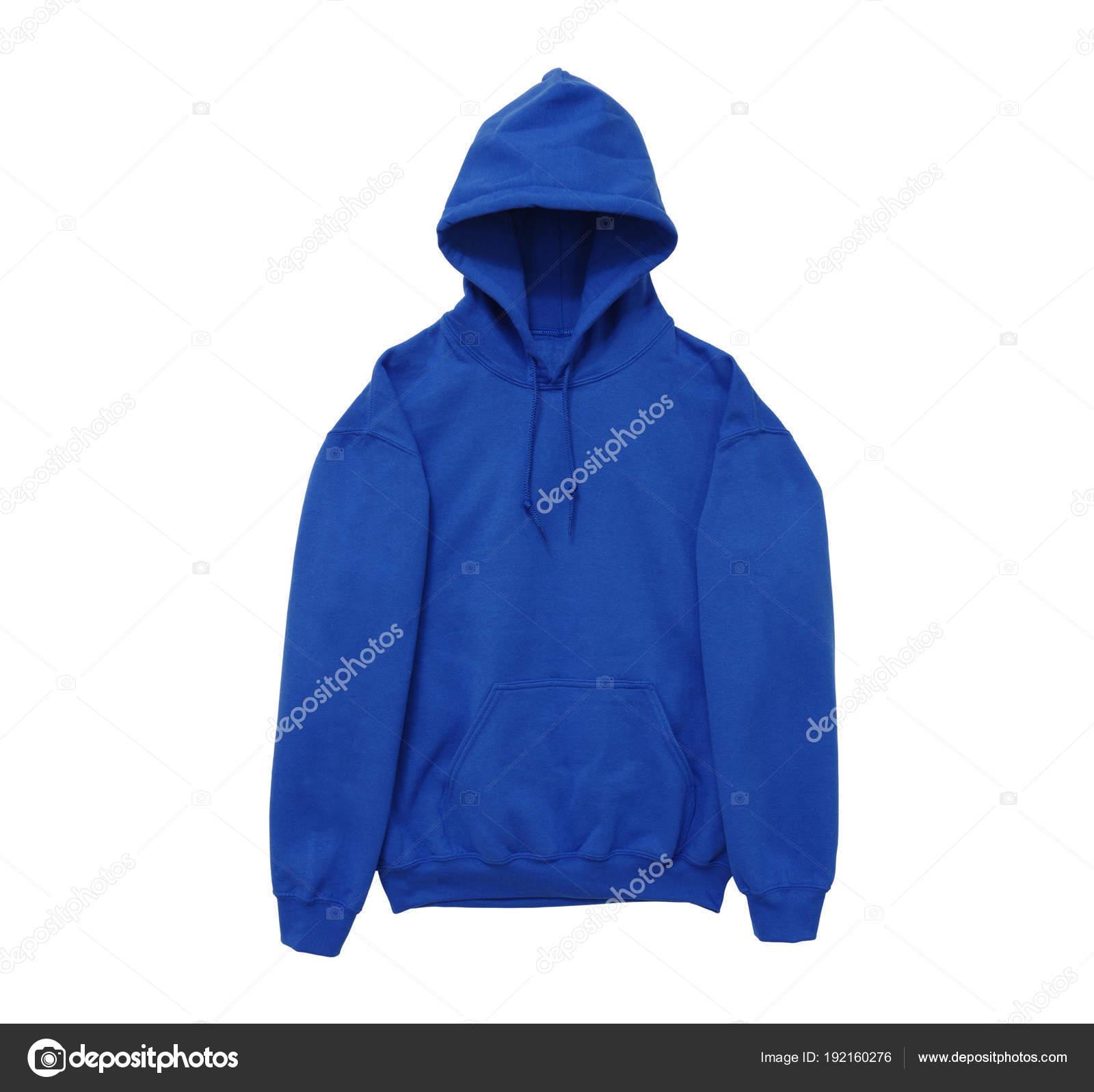 dbe2b78dd0d5 Κενό Hoodie Φούτερ Χρώμα Μπλε Προβολή Μέτωπο Βραχίονα Λευκό Φόντο ...