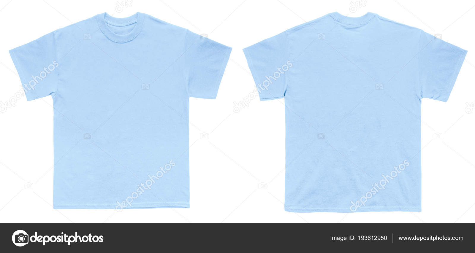 Blank T Shirt Color Light Blue Template Front And Back View On White Background Photo By Kustomer