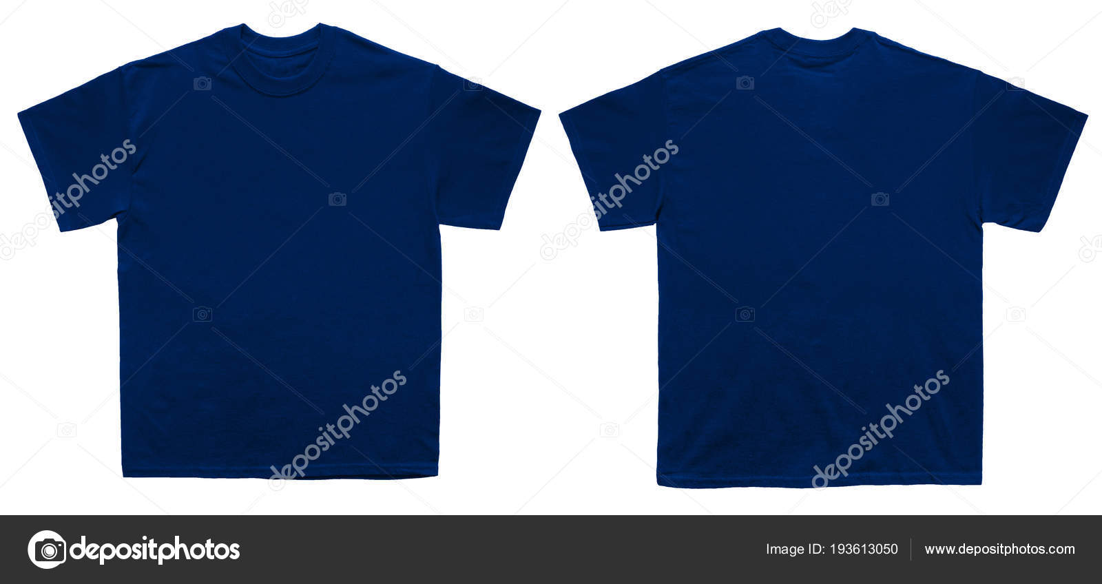 Blank T Shirt Color Navy Template Front And Back View On White Background Photo By Kustomer