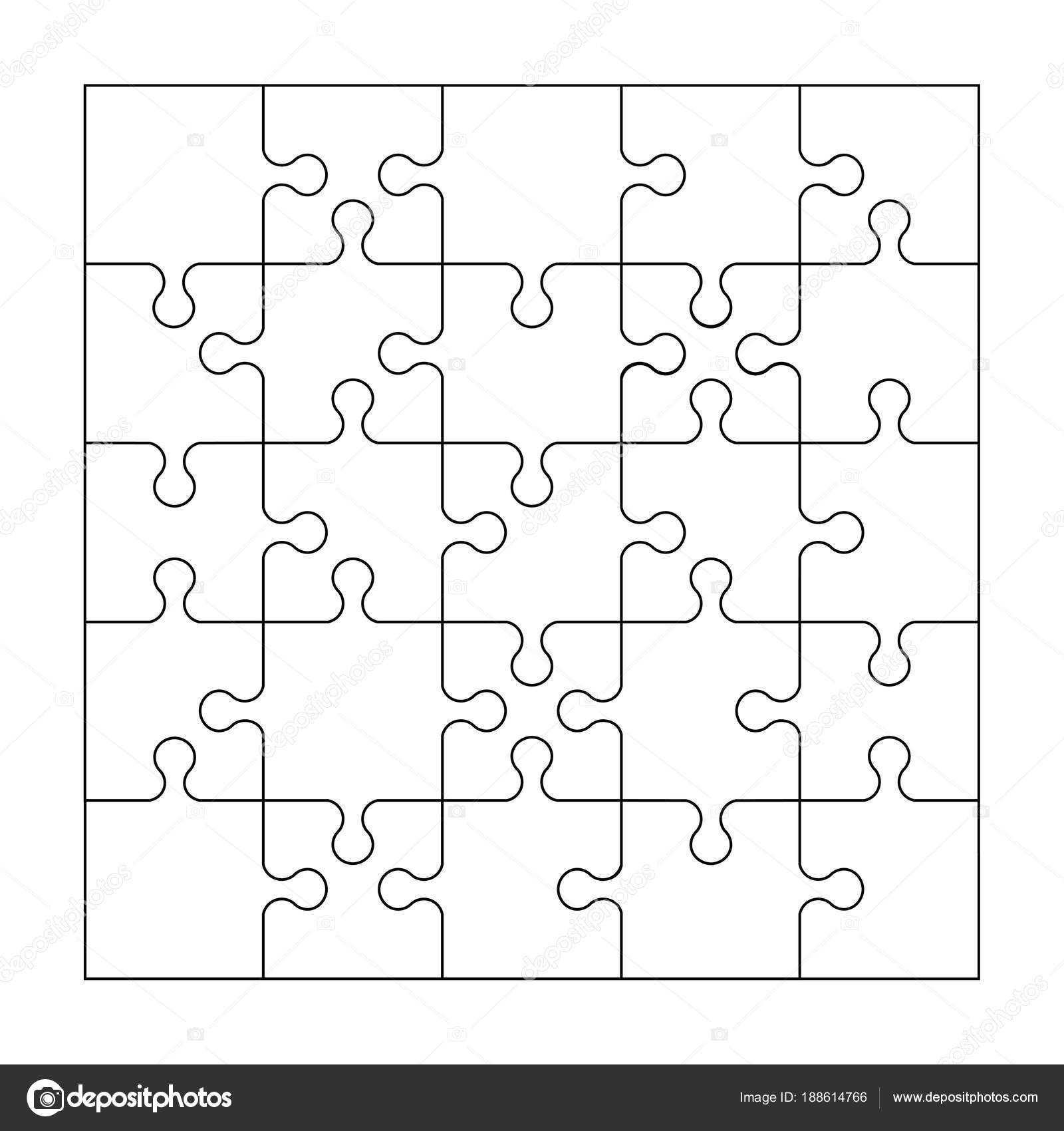 Puzzle template of 25 pieces. Vector illustration. — Stock Vector ...