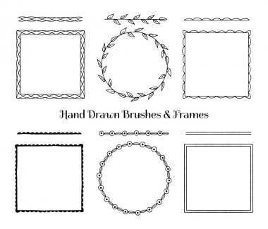 Collection of hand drawn frames and brushes. Vector illustration.