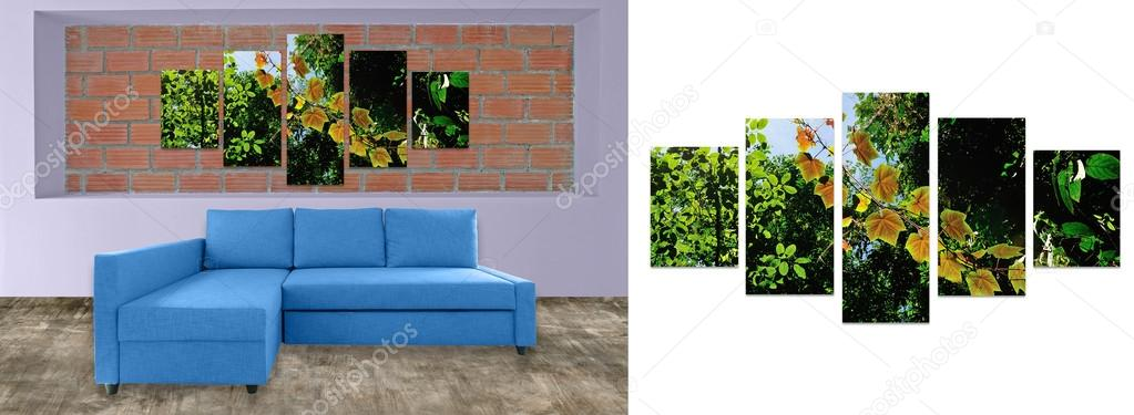 blue sofa furniture and nature photo collage on brick wall hi r rh depositphotos com blue sofa furniture village fantastic furniture blue sofa