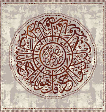 Islamic calligraphic verses from the Koran Al-Ihlyas 114: for the design of Muslim holidays, means