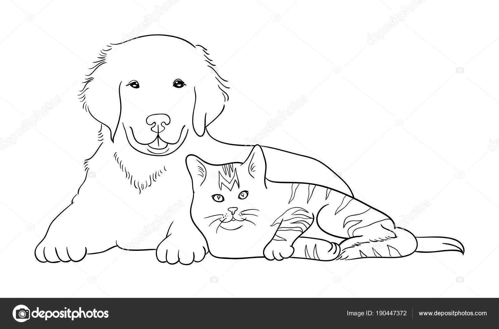 Gato Perro Arte Línea Vector Ilustración Buen Uso Símbolo Logo ...
