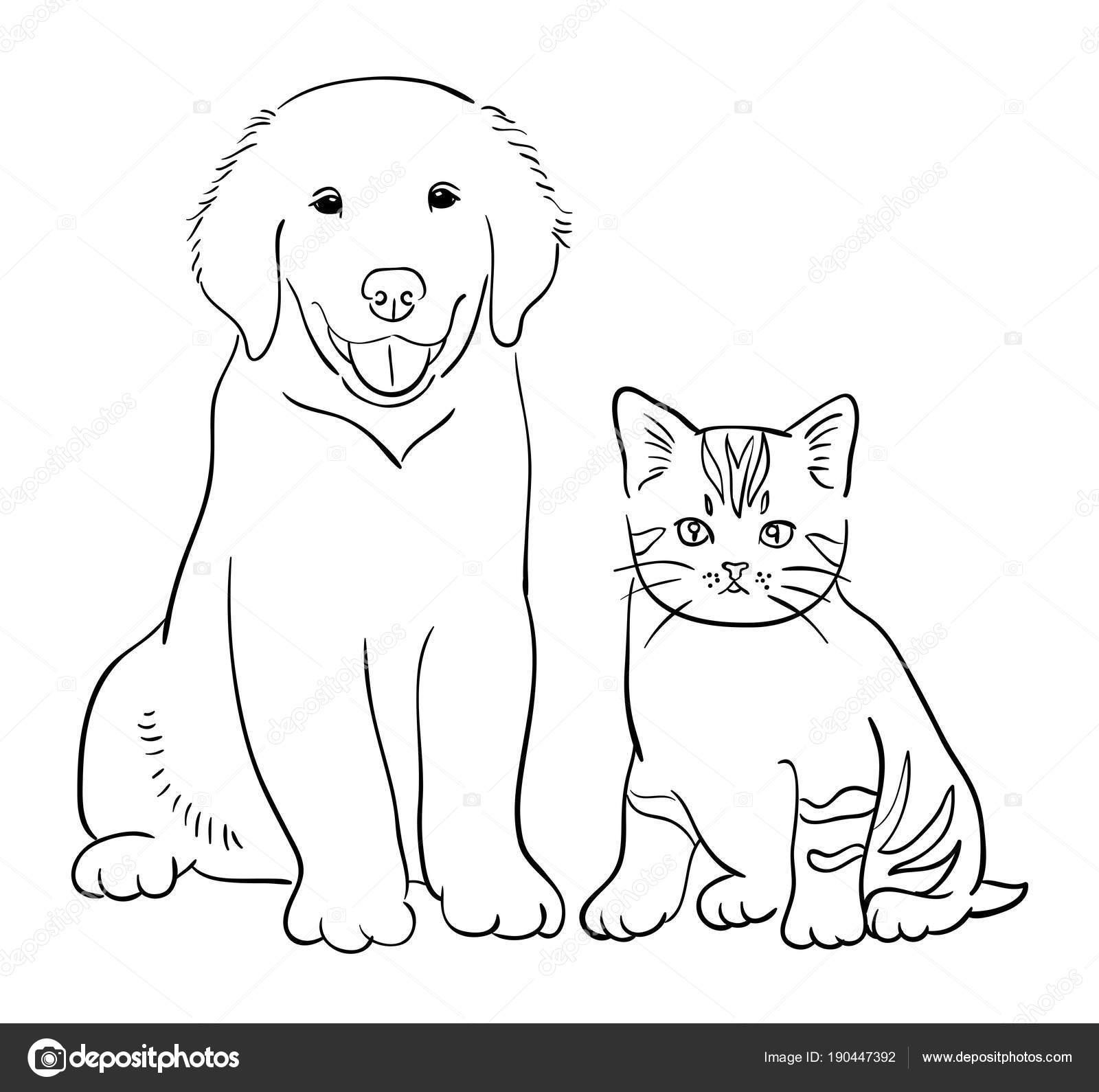 Gato Perro Línea Arte Vector Ilustración Buen Uso Símbolo Logo ...
