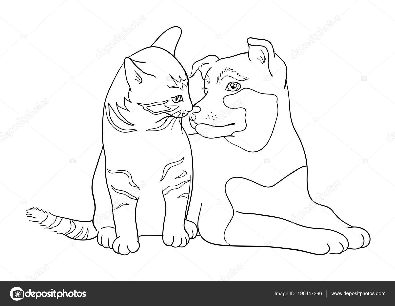 Cane Gatto Arte Linea Vettore Illustrazione Buon Uso Simbolo Logo