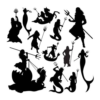 Poseidon silhouettes. Good use for symbol, logo, web icon, mascot, sign, or any design you want.