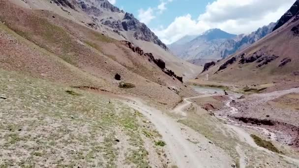 Aerial view of dirt hiking trail to Aconcagua Mountain along Horcones river. Aconcagua Provincial Park, Mendoza province, Argentina.
