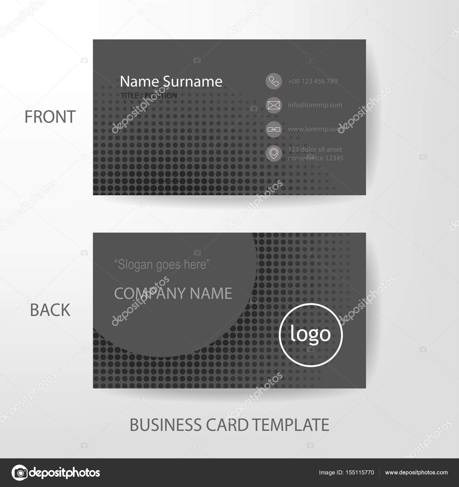 Vektor Modern Und Sauber Grauen Halbton Stil Visitenkarten