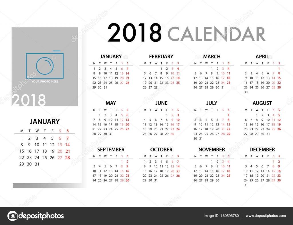 Calendario para 2018 plantilla de diseño. La semana comienza lunes ...