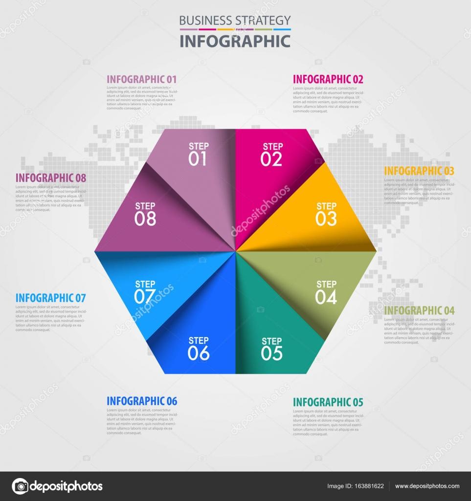 Elementos de diseño de estrategia de negocios infografía hexágono ...