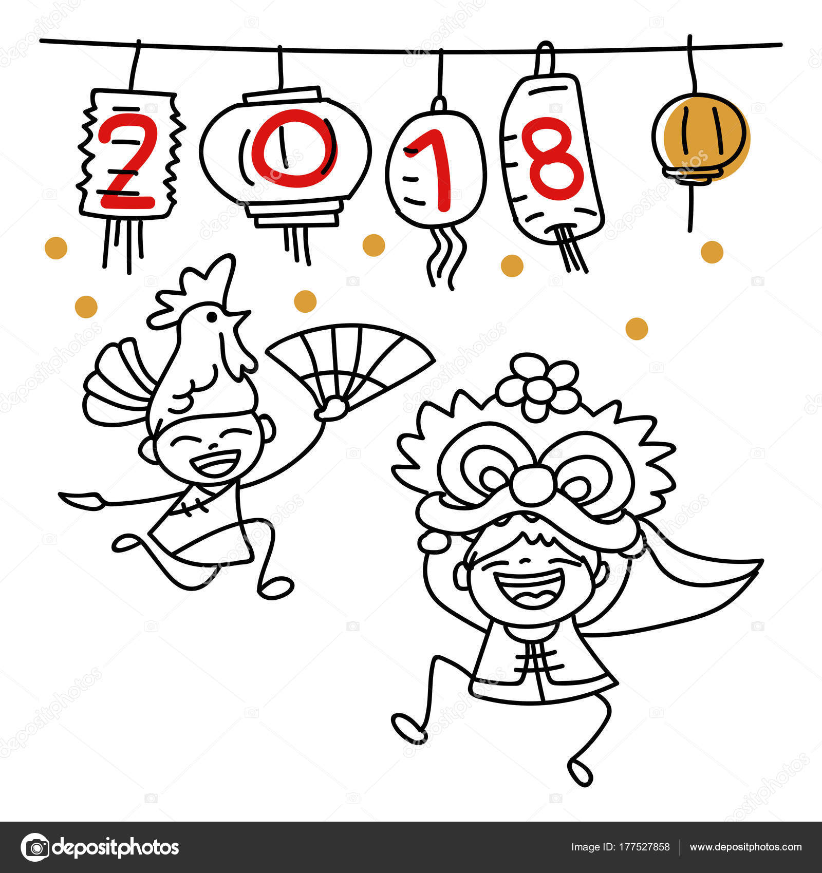 Happy chinese nehand drawing cartoon character chinese people dancing lion dance and kid happy chinese new year 2018 moon year lunar year concept line