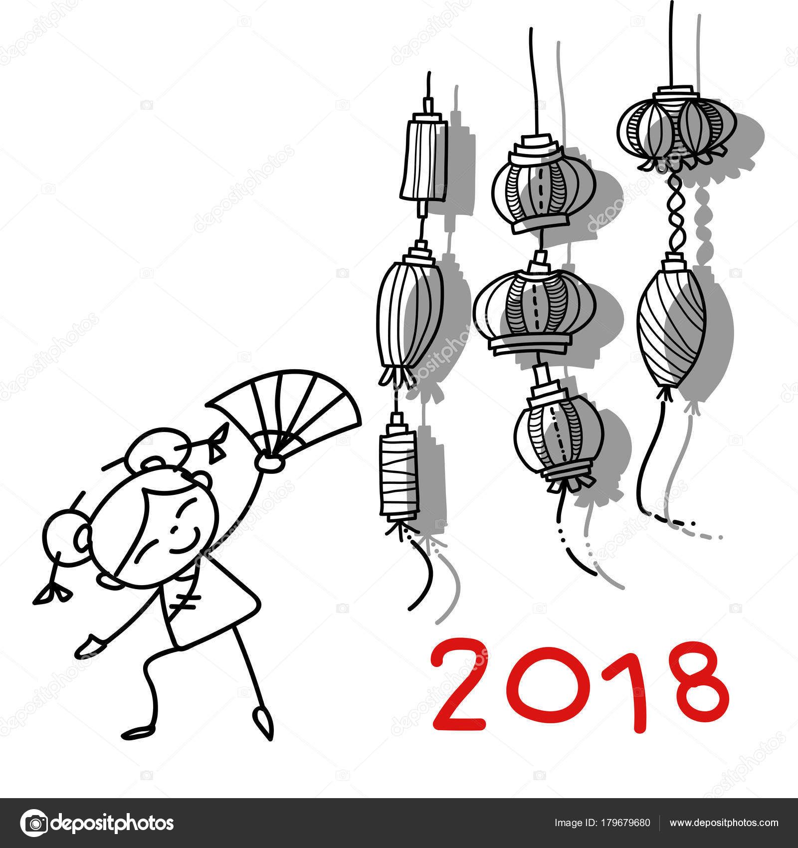 Mano dibujar personas de personaje de dibujos animados feliz chino ...