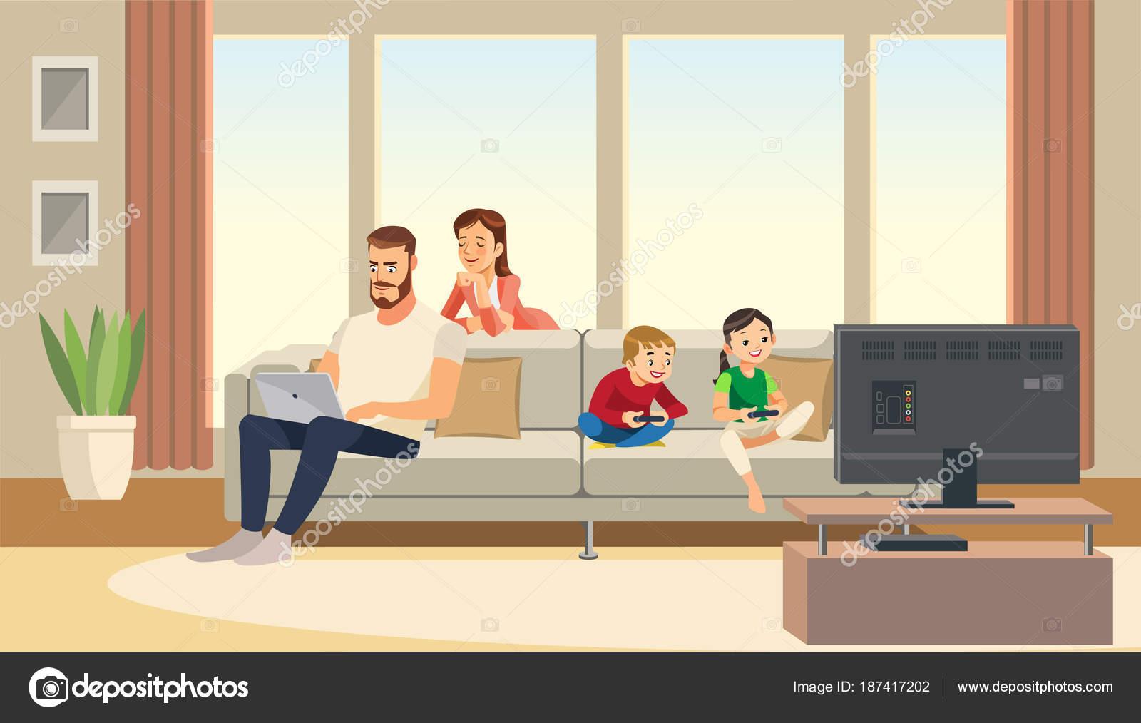Familia En Casa Cuidado Madre Padre Ninos Jugando El Juego De La