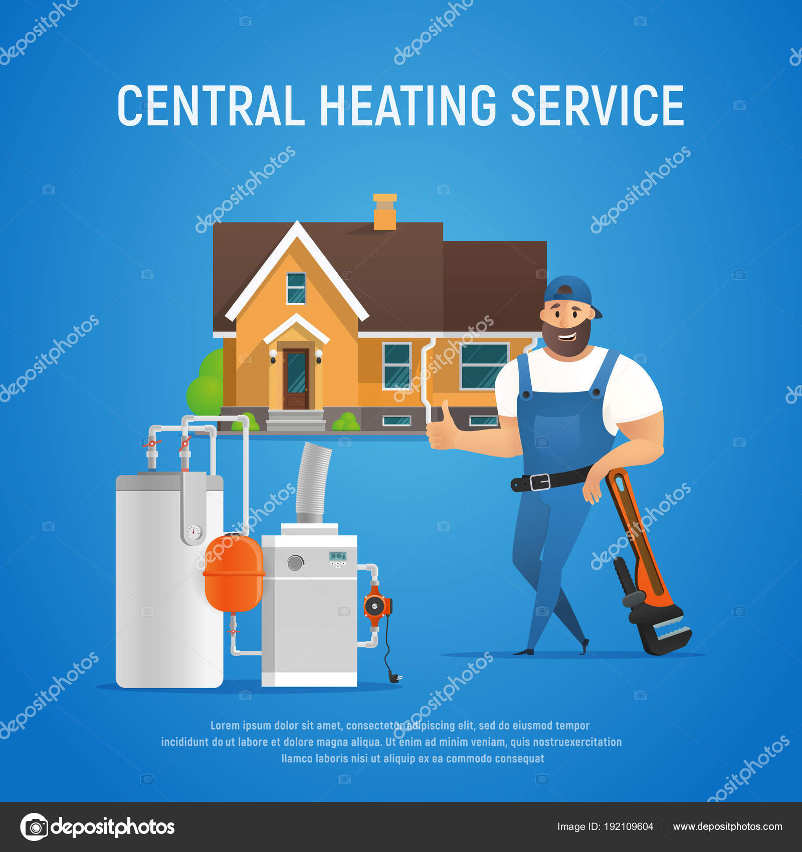Cartoon Plumber Central Heating Service of House — Stock Vector ...