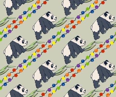 Vector background hand drawn panda. Hand drawn ink illustration. Modern ornamental decorative background. Vector pattern. Print for textile, cloth, wallpaper, scrapbooking