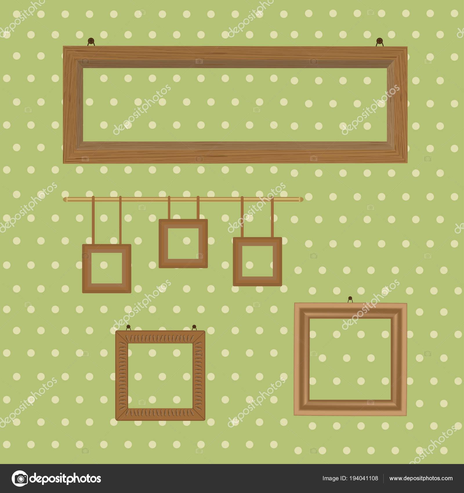 Conjunto de marcos de madera decorados en el fondo de papel pintado ...
