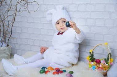 little boy in Easter Bunny costume