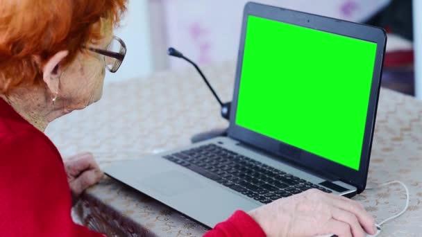 Starší žena mluví po telefonu a pracuje na notebooku, babička používá sociální sítě a smartphone komunikovat v self-izolaci, důchodce je zvládnutí informační technologie