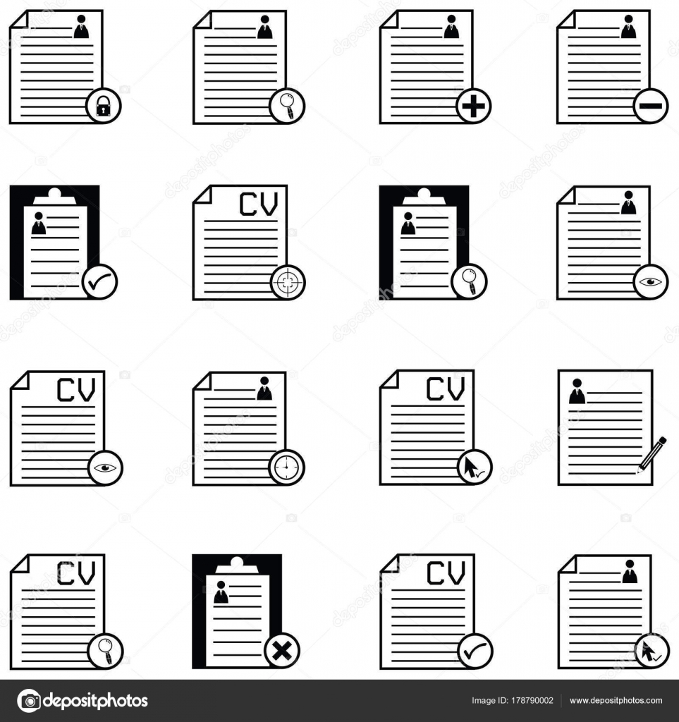 conjunto de iconos de reanudar — Vector de stock © kateen2528 #178790002