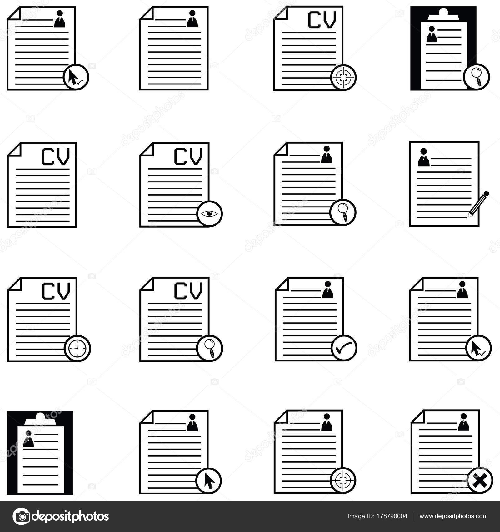 conjunto de iconos de reanudar — Vector de stock © kateen2528 #178790004