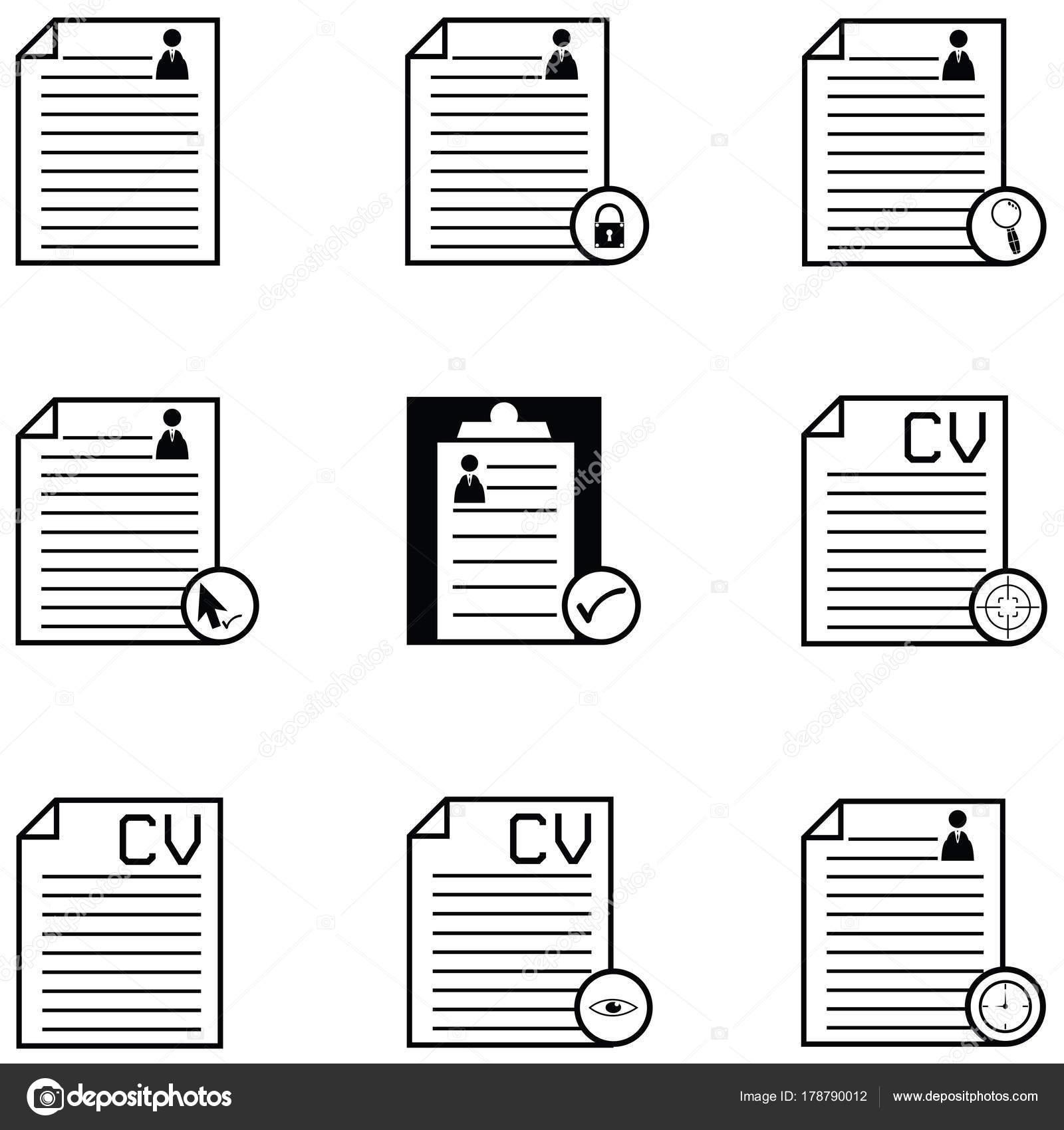 conjunto de iconos de reanudar — Vector de stock © kateen2528 #178790012