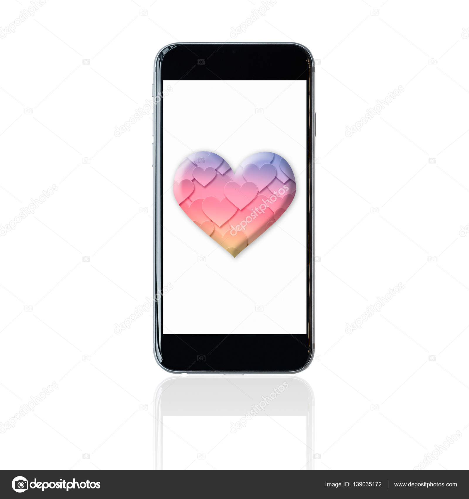 Smartphone With Colourful Heart Symbol On Screen Elegant Design For