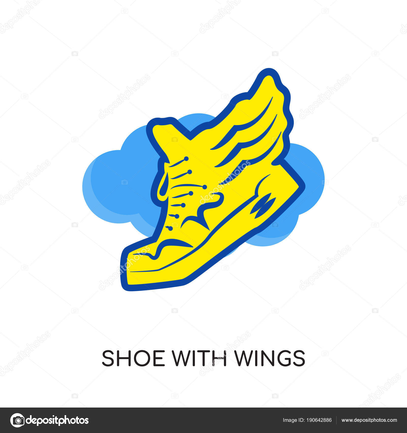shoe with wings logo isolated on white background for your web rh depositphotos com shoes with wings logo company shoes with wings logo yellow