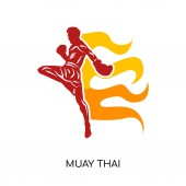 Photo muay thai logo isolated on white background for your web, mobile